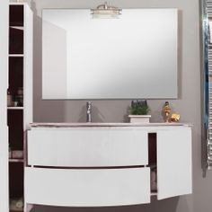Mobile bagno moderno design sospeso finitura laccata lucida chiusura soft- close