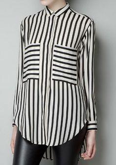 Blusa+gasa+rayas+verticales-Negro&Blanco+EUR€23.13