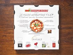 This box is from Mario Batali's Eataly. It has 17 vents and an aluminum-lined inside to keep the pizza hot, but not soggy. Takeaway Packaging, Food Packaging Design, Box Packaging, Pizza Takeaway, Pizza Box Design, Pizza Factory, Crepe Bar, Pizza Branding, Pizza Boxes