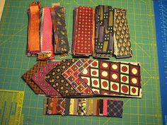 Esther tell how she made her tie quilt on threadsonthefloor blog. Wish I'd done this with my dad's ties.