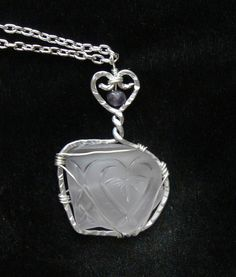 Amethyst Sea Glass Heart  and Necklace with Heart by oceansbounty, $22.00