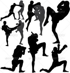 Muay Thai (Thai Boxing) vector silhouettes - GraphicRiver Previewer