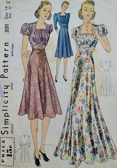 Simplicity 3091; ca. 1939; Misses' Daytime and Evening Dress. Square neckline with rows of shirring. Bodice gathers to high waistline of skirt, which flares in two lengths. Sleeves are set in, short or three quarter length. Featured in Simplicity Prevue May 1939. | Vintage Patterns Wikia