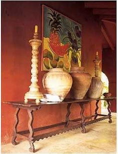 Mexican Architecture and Interiors, Hacienda Architecture, Spanish Colonial Antiques Not too bad but too dark and too Greek and big and In your face Spanish Revival, Spanish Style Homes, Spanish Colonial, Boho Glam Home, Hacienda Homes, Hacienda Style, Mexican Hacienda Decor, Hacienda Kitchen, Console Table