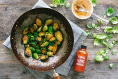 HONEY-SRIRACHA GLAZED BRUSSELS SPROUTS - roast at 400 15-20 min