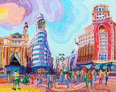 PLAZA DE CALLAO (MADRID). Oleo sobre lienzo. 81 x 100 x 3,5 cm.