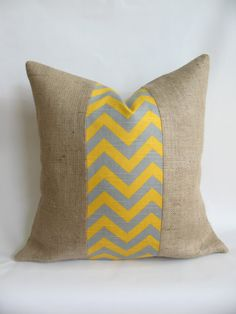 Gray and Yellow Chevron Fabric and Burlap Pillow. This is everything I love in one item.