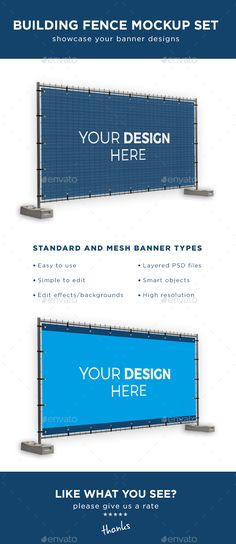 Building Fence Banner Mockup Set — Photoshop PSD #indoor #presentation • Available here → https://graphicriver.net/item/building-fence-banner-mockup-set/17268903?ref=pxcr