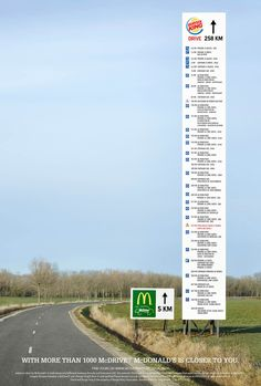 McDonald's McDrives: The Directional billboard #McDriveKing McDonald's decided to have a little fun with its direct competitor Burger King® and built an intriguing temporary billboard… McDonald's McDrives: The Directional billboard #McDriveKing Credits Client: McDonald's France Advertising Agency:TBWA, Paris, France Executive Creative Directors:Benjamin Marchal, Faustin Claverie Art Director:Philippe Taroux Copywriter:Benoit Leroux General Manager