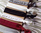 FOE Hair Ties School Uniform Colors Plaid Gray, Burgundy, White, Black Pony Tail Holder, Summer Accessory Elastic