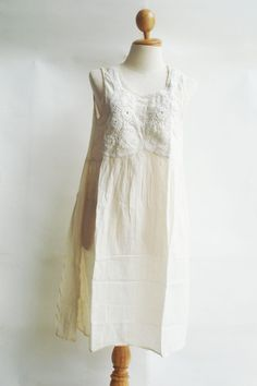D19 Knitted Spring Off White Cotton Dress cream by SweetCakeCookie, $41.50