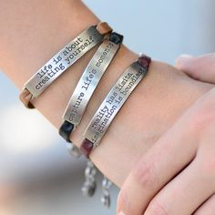 INSPIRATIONAL MESSAGE LEATHER BRACELETS Dress your soul (and wrist!) with motivational messages that inspire positive energy in your life. 8 messages available: The secrets to attaining true happiness! Own or gift this remarkable piece of jewelry.