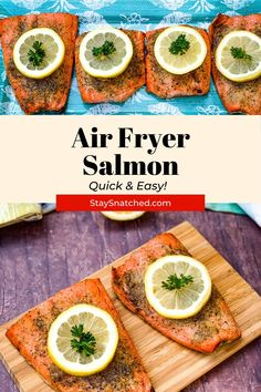 This Easy Air Fryer Salmon recipe is quick to make using fresh or frozen fish. This post includes all of the tips on how to make tender, juicy, and perfect salmon. Air Fry Recipes, Air Fryer Dinner Recipes, Lunch Recipes, Healthy Recipes, Easy Salmon Recipes, Shrimp Recipes, Appetizer Recipes, Easy Weeknight Dinners, Quick Easy Meals
