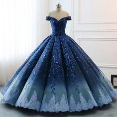 Idée et inspiration robe de mariage tendance 2018   Image   Description   High Quality 2018 Modest Prom Dresses Ombre Royal Blue Wedding Evening Dress Gradient Blue Shade Seq