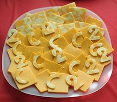 These snacks are brought to you by the letter C and the number 2! Great idea.