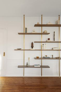 Stair Shelves, Bookcase Shelves, Wood Shelves, Cherry Wood Floors, Industrial Office Design, Industrial Shelving, Unique Shelves, Interior Stairs, Best Kitchen Designs