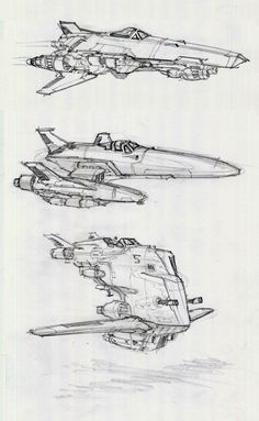 Spaceship sketches by Alex Villarreal