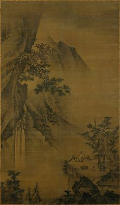 Scholar Looking at a Waterfall by  Zhong Li (Chinese, active ca. 1480–1500)