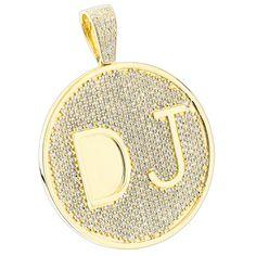 Custom 10K Yellow Gold Diamond DJ Pendant for Men with Initials 6.5ct
