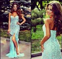 Mermaid Prom Dresses,Beading Prom Dress,Blue Prom Gown,Sparkly Prom Gowns,Elegant Evening Dress,Sparkle Evening Gowns,Slit Evening Gowns,Split Prom Dress PD20184928