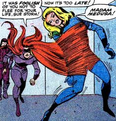 Medusa vs. Mujer Invisible.  Fantastic Four #41 (1965) guión de Stan Lee, dibujos de Jack Kirby & Vince Colletta