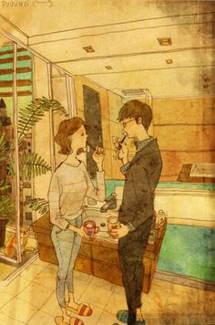 """A Korean artist named """"Puuung"""" expresses long term relationships by putting in those little gestures that make love so full and rich."""
