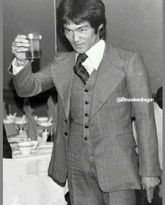 Bruce in the suit from Enter the Dragon 1973.