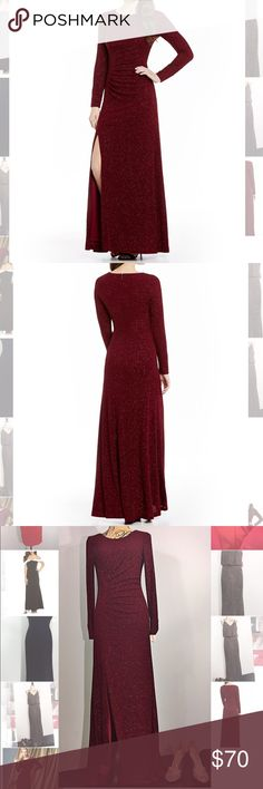 Calvin Klein long sleeve knit glitter gown NWT Burgundy prom perfection. Sophisticated & fashionable. This gown commands attention without being gaudy. Dance the night away in this stretch gown Calvin Klein Dresses Prom