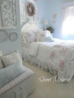 .Beautiful!  Cool, feminine, roses, white, blue, all things I love!