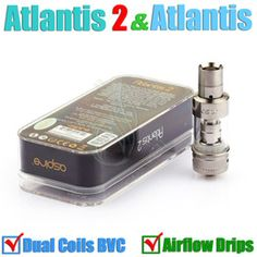 Atlantis V2 upgraded Atomizer & Atlantis 2 BVC Sub ohm coil 22mm airflow drip tips clone 2.0 Mega tank dual Coils clearomizer e cigs 510 RDA