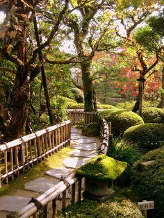 I'm drawn to these kind of stone paths. Garden Path, Nikko, Japan photo by Chuckduck Garden Paths, Garden Bridge, Garden Landscaping, Garden Trees, Diy Garden, Japanese Garden Design, Japanese Gardens, Japanese Style, Japanese Fence