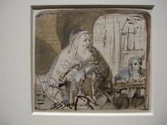 Homerus draagt zijn verzen voor (the Blind Homer, Dictating to a Scribe), Rembrandt, exposition The Late Rembrandt, Rijksmuseum Amsterdam.