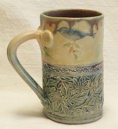 Stoneware blue bird 16oz coffee mug ceramic 16C086 by desertNOVA, $22.00