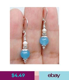 Blue Round Jade + white shell pearl Silver Dangle Earrings in Jewelry & Watches, Fashion Jewelry, Earrings Bead Earrings, Silver Earrings, Silver Ring, Diy Earrings Dangle, Chandelier Earrings, Silver Bracelets, Jewelry Bracelets, Necklaces, Wire Jewelry