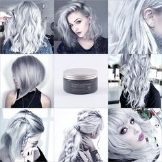 Pastel silver gray ml) hair color conditioner - evilhair Pelo Color Gris, Silver Hair Dye, Dyed Hair Pastel, Semi Permanent Hair Color, Brown Blonde Hair, Grey Blonde, Hair Color Purple, Gray Color, Hair Color Highlights