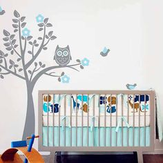 Owl Squatting on the Tree Wall Decal. Great design ideas to decorate your baby boy and girl room. This DIY project bring the modern touch to your bedroom and nursery. Kids will surely love it!