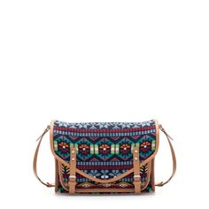 MULTICOLORED FABRIC MESSENGER BAG from Zara