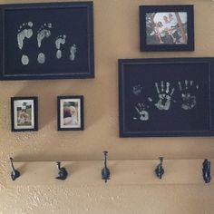 Family footprints and handprints on canvas.