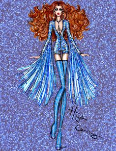 Hayden Williams Fashion Illustrations: Dazzling Divas by Hayden Williams: 'Sapphire Siren'