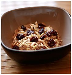 Cherry Almond Oatmeal ~ Steel-Cut Oats cooked in the slow cooker overnight. (use gluten free oats)