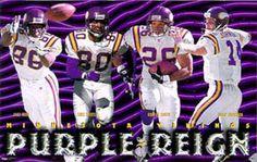 1998 Minnesota Vikings Purple Reign Poster - Jake Reed, Cris Carter, Robert Smith, Brad Johnson