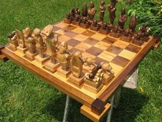 Chess Set Jolly Roger Band Chess Set on etsy handcarved  custom chess sets, custom chess pieces, and