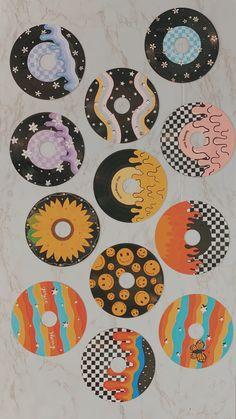 Record Wall Art, Cd Wall Art, Cd Art, Indie Room Decor, Cd Decor, Decor Ideas, Home Decor, Simple Canvas Paintings, Mini Canvas Art