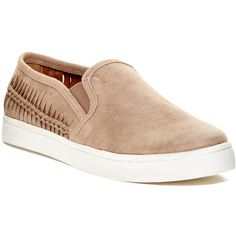 Report Adalia Slip-On Sneaker ($35) ❤ liked on Polyvore featuring shoes, sneakers, taupe, slip on sneakers, round toe shoes, taupe shoes, round cap and faux suede shoes