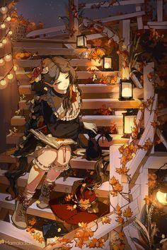 Autumn by Marmaladica on DeviantArt Manga Kawaii, Kawaii Anime Girl, Anime Art Girl, Anime Witch, Manga Girl, Fantasy Kunst, Fantasy Art, Hiro Big Hero 6, Art Anime Fille