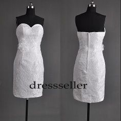 White Lace Short  Wedding Dress with Flower Bridal by Tinadress, $118.00