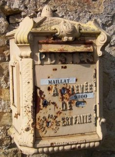 Charming Rustic French mail box. this would be cute to hang in french country kitchen above desk to hold mail!