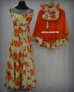 Mom and Me designs by Angalakruthi, Floral designs anarkali with kallis,floral frocks for kids and mom, Custom Designs by Angalakruthi, Hand Embroidery by Angalakruthi, Ladies and Kids boutique in Bangalore