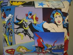 Red Blue Supergirl, Wonder Woman Bat Girl Action Comic Books, Super Heros Fabric Pillow/Cushion