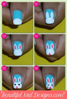 Cute Easter Bunny http://beautifulnaildesigns.com/easter-nail-art-2014-cute-bunny-rabbit-easy-diy/